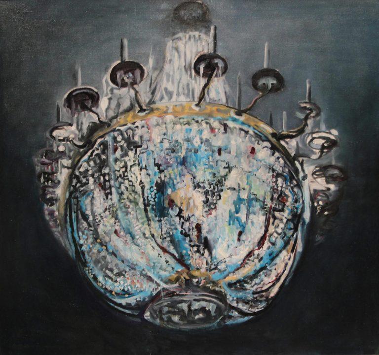 Petri Yrjölä: Juhlat, 2019. Öljy kankaalle, 140 x 150 cm.