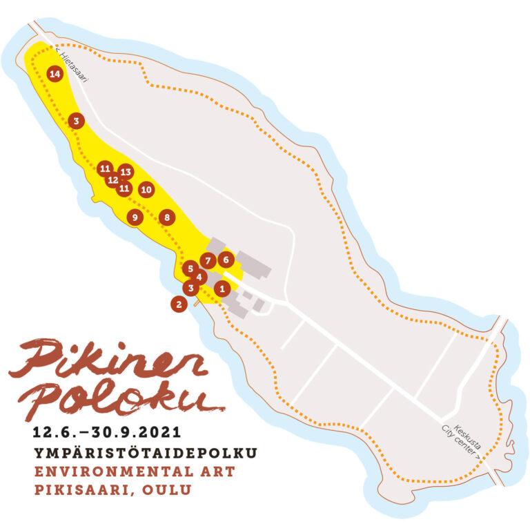 Pikinen Poloku, ympäristötaidepolku 2021, kartta